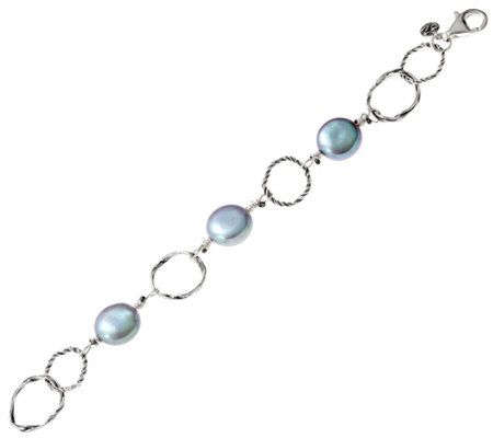 Sterling Silver Cultured Coin Pearl Station Bracelet by Or Paz