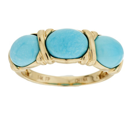 """As Is"" Sleeping Beauty Turquoise Three Stone Ring, 14K"
