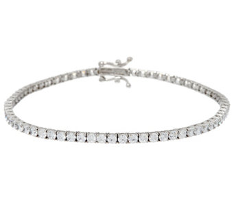 Diamonique 14K Gold Round Tennis Bracelet, Large - J332768