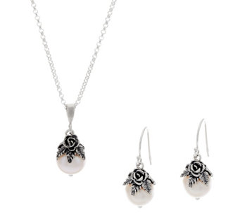 Sterling Silver Cultured Pearl Necklace & Earrings Set by Or Paz - J333068