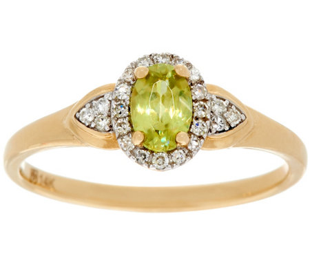 """As Is"" Oval Sphene & Diamond Ring, 14K Gold, 0.40ct"