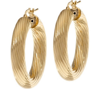 "Bronze 1-1/4"" Ribbed Round Hoop Earrings by Bronzo Italia - J333668"