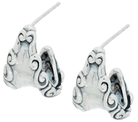 Carolyn Pollack Sterling Silver Signature Hoop Earrings