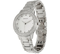 Pave' Round Diamond Watch, Stainless Steel 1.00 cttw, by Affinity - J347468