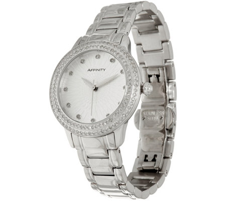 Pave' Round Diamond Watch, Stainless Steel 1.00 cttw, by Affinity