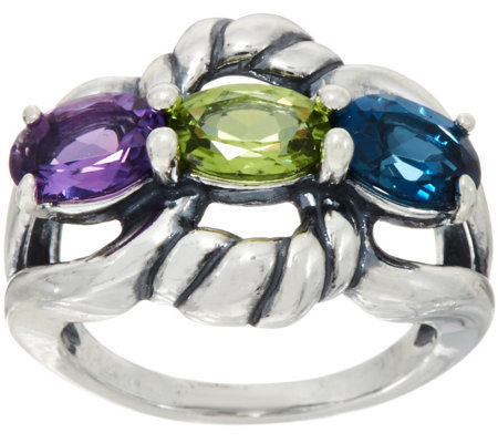 Carolyn Pollack Sterling Silver Three Gemstone Ring 2.40cttw