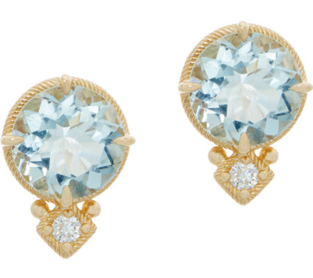 Judith Ripka 14K 2.80 cttw Aquamarine & Diamond_Accent Stud Earrings