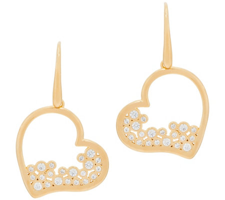 Diamonique Heart Dangle Earrings Sterling or 18K Plated