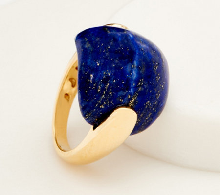 Opaque Gemstone Cabochon Ring, 14K Gold- Plated Sterling Silver