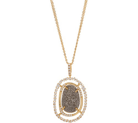 "Melinda Maria Simulated Druzy Pendant with 30"" Chain - Barrymore"