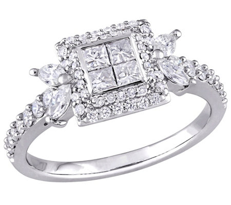 Diamond Halo Engagement Ring, 14K, 1 cttw, by Affinity