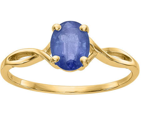14K Oval Crisscross Gemstone Ring