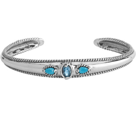 Carolyn Pollack  Sleeping Beauty Turquoise & Blue Topaz Cuff