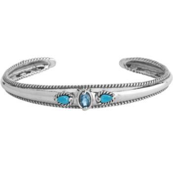 Carolyn Pollack Sleeping Beauty Turquoise & Blue Topaz Cuff
