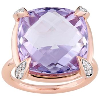 14K 15.10 cttw Rose de France and White Sapphire Ring