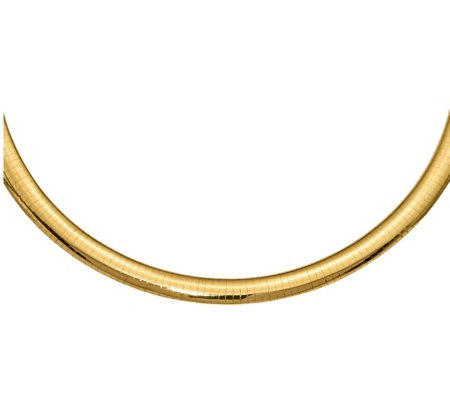 "14K Gold 8mm Domed Omega 16"" Necklace, 36.5g"