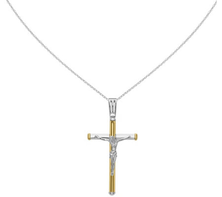"14K Two-tone Crucifix Pendant w/18"" Chain, 5.3g"
