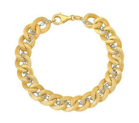Italian Gold Two-tone Curb & Rectangle Link Bracelet 14K Gold