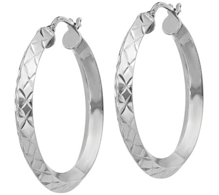 Italian Silver Round Diamond-Cut Hoop Earrings,Sterling
