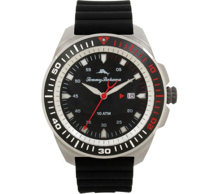 Tommy Bahama Surfside Black Silicone-Strap Sport Watch