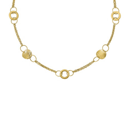 "Italian Gold 17"" Circle Station Necklace 14K, 10.5g"