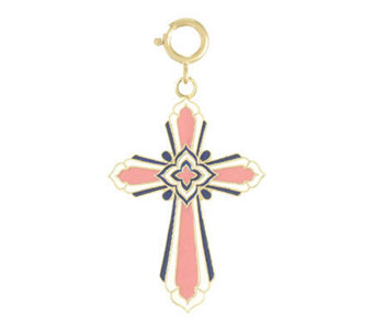 Gold and Enamel Cross Charm, 14k - J107169