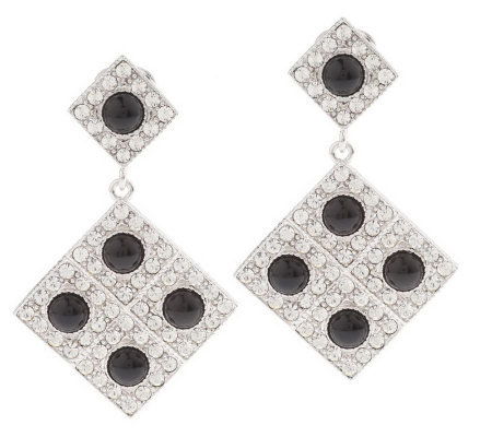 Luxe Rachel Zoe Pave' Crystals & Cabochon Drop Earrings