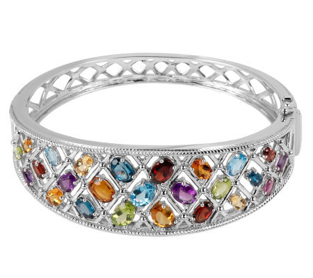 11.20 ct tw Multi-gemstone Trellis Sterling Hinged Bangle