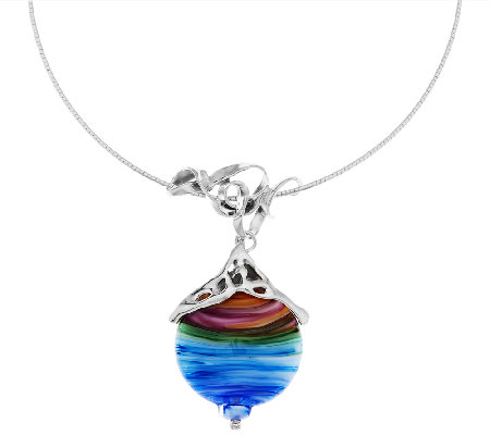 """As Is"" Kalos by Hagit Sterling Multi-Colored Glass Pendant"