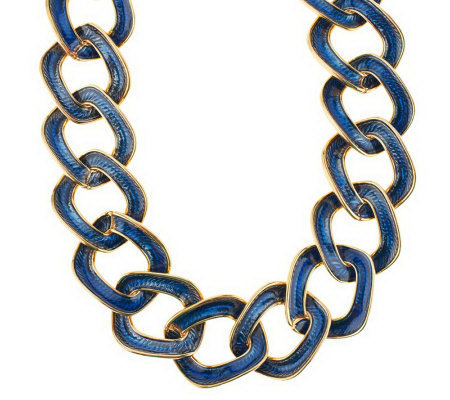 "Kenneth Jay Lane's Enamel Reversible Link 19"" Necklace w/ 3"" Extender"