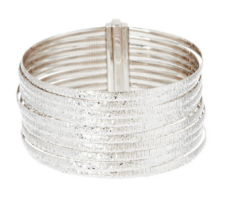 """As Is"" VicenzaSilver Sterling 8"" 10-Row Omega Bracelet, 38.8g"