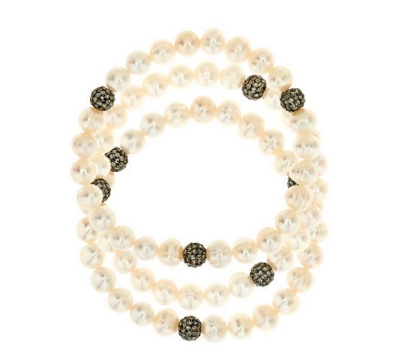Honora Cultured Pearl & Crystal Set of 3 Stretch Bracelets