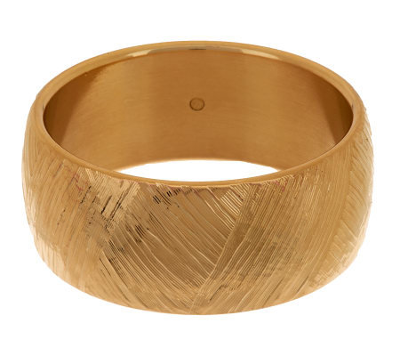 Oro Nuovo Large Bold Brushed Satin Textured Round Bangle, 14K
