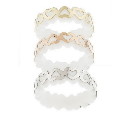 """As Is"" Set of 3 Gemstone Heart Stack Rings, 14K Gold"
