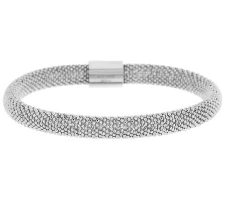 VicenzaSilver Sterling Domed Diamond Cut Bead Wrapped Mesh Bracelet