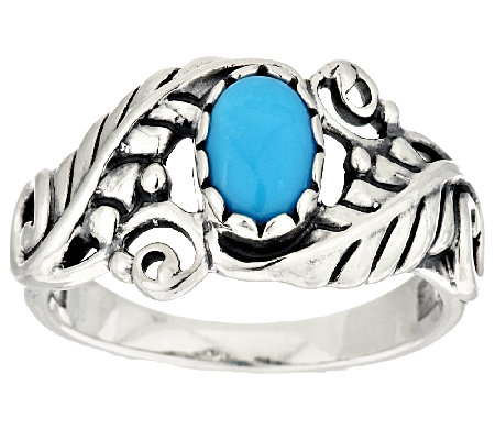Sleeping Beauty Turquoise Leaf Sterling Silver Ring by American West