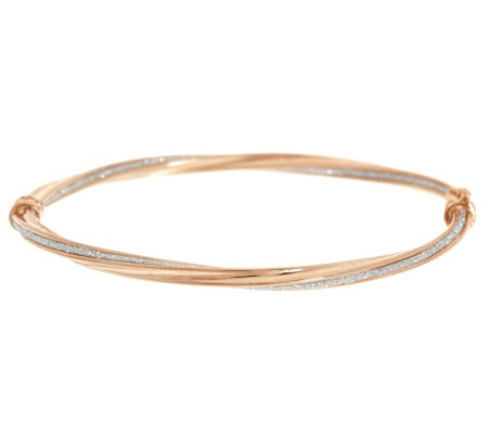 Vicenza Gold Avg. Pave' Glitter Twisted Oval Hinged Bangle, 14K