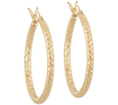 "14K Gold 1"" Diamond Cut Tube Hoop Earrings"