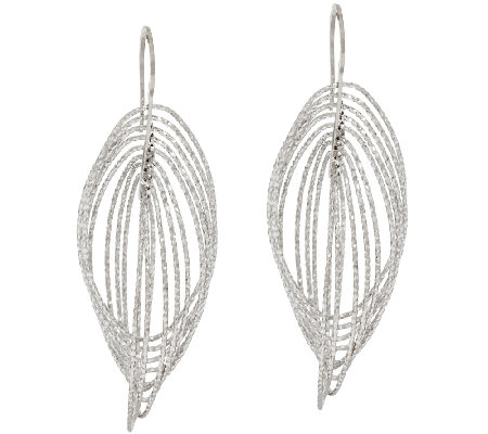 "VicenzaSilver Sterling 2-1/2"" Cascading Diamond Cut Dangle Earrings"