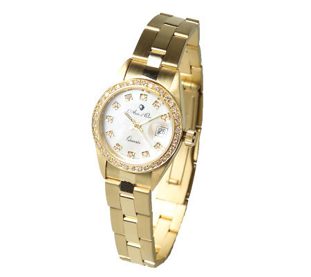 Arte d'Oro 1/2 ct tw Diamond Polished & Satin Watch, 18K Gold