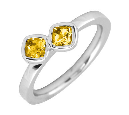Simply Stacks Sterling & Citrine Double-SquareGemstone Ring