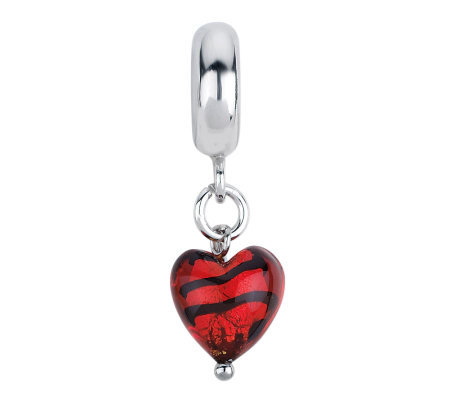 Prerogatives Red/Black Heart Italian Murano Dangle Glass Bead