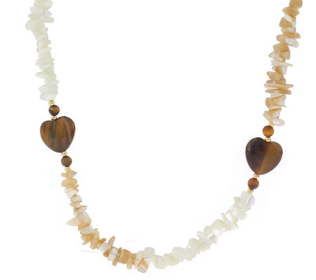 Lee Sands Tiger's Eye Heart Bead Necklace