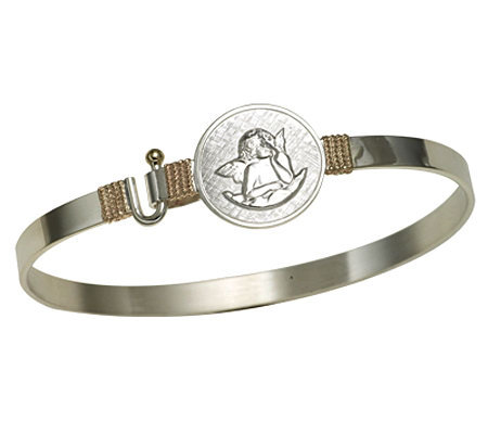 Guardian Angel Bangle, Sterling Silver/14K
