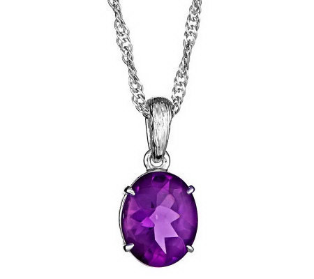 "3.75 ct Oval Gemstone Pendant w/18"" Chain, Sterling Silver"