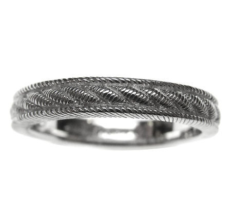 Judith Ripka Sterling Rope Textured Band Ring