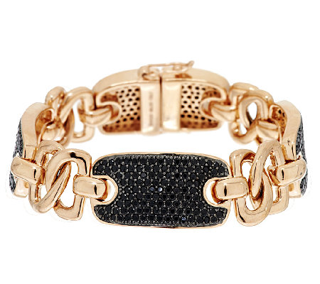 """As Is"" Bronzo Italia Rose 6.00 ct tw Black Spinel Status Bracelet"