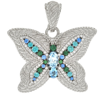 Judith Ripka Sterling Blue Topaz & Diamonique Butterfly Charm