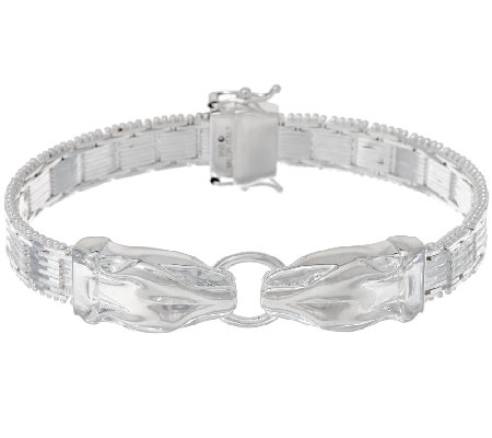 "UltraFine Silver 7-1/4"" Panther Head Riccio Bracelet 31.8g"