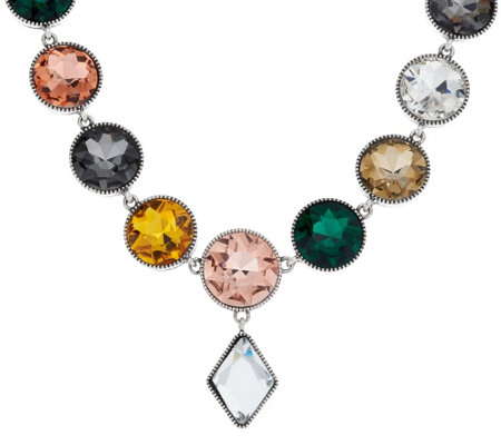"LOGO Links by Lori Goldstein 18"" Gemstone Necklace with Diamond Drop"